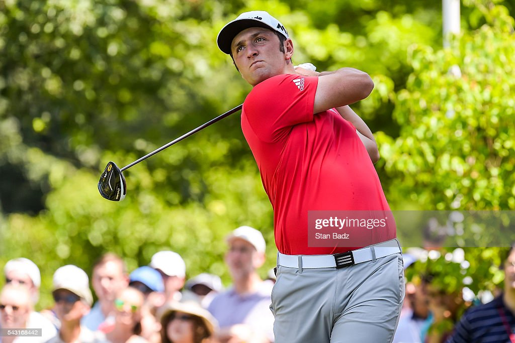 Jon Rahm of Spain tees off on the first hole during the final round of the Quicken Loans National at Congressional Country Club (Blue) on June 26, 2016 in Bethesda, Maryland.