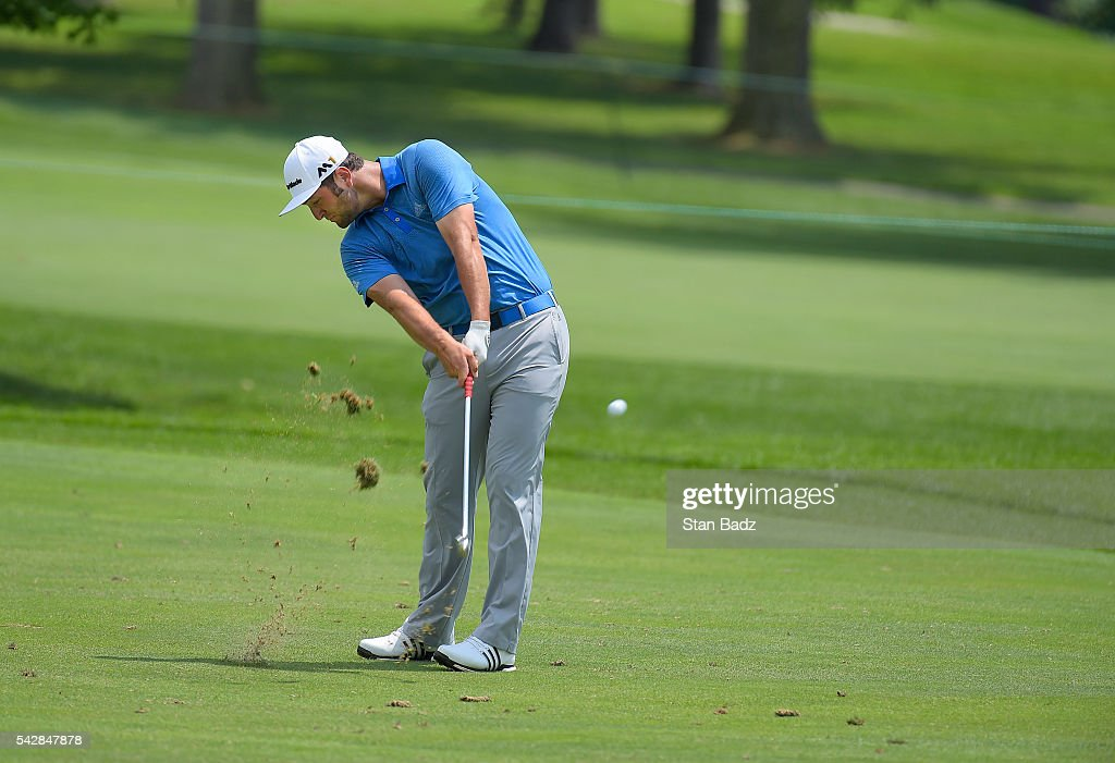 Jon Rahm plays a shot on the eighth green during the second round of the Quicken Loans National at Congressional Country Club (Blue) on June 24, 2016 in Bethesda, Maryland.