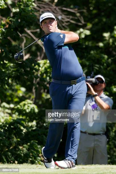 Jon Rahm plays his shot from the ninth tee during the first round of the Dean Deluca Invitational on May 25 2017 at Colonial Country Club in Fort...