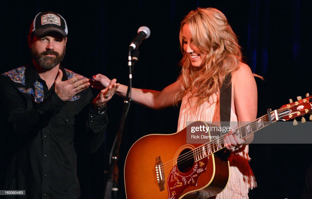 Jon Randall Stewart and Ashley Monroe performs during the Ashley Monroe Album Release Party for ' Like a Rose' at 3rd & Lindsley on March 7, 2013 in Nashville, Tennessee.
