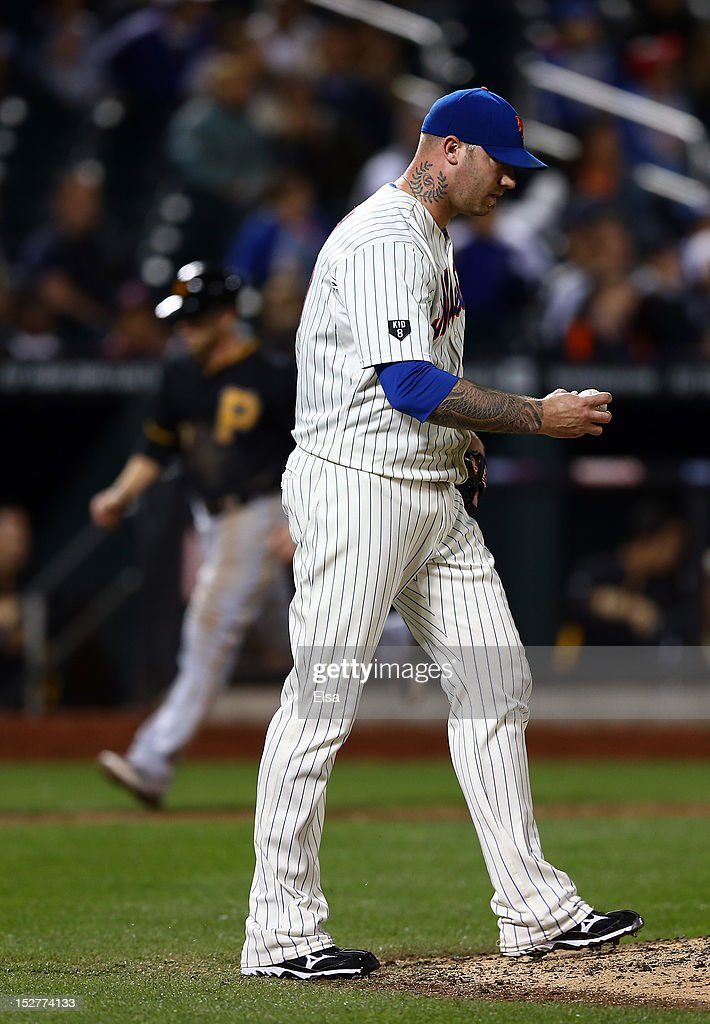 <a gi-track='captionPersonalityLinkClicked' href=/galleries/search?phrase=Jon+Rauch&family=editorial&specificpeople=242989 ng-click='$event.stopPropagation()'>Jon Rauch</a> #60 of the New York Mets reacts after giving up a two run homer to Garrett Jones of the Pittsburgh Pirates in the ninth inning on September 25, 2012 at Citi Field in the Flushing neighborhood of the Queens borough of New York City.