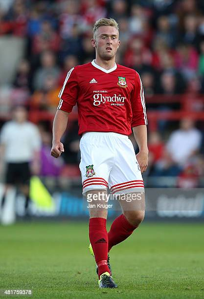 Jon Royle of Wrexham during the pre season friendly match between Wrexham and Stoke City at Racecourse Ground on July 22 2015 in Wrexham Wales