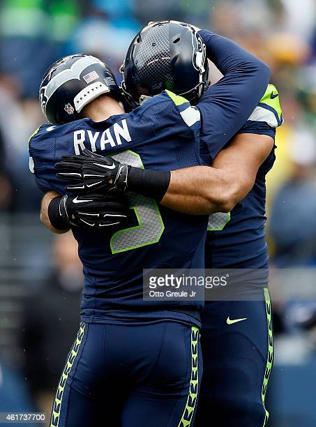 Jon Ryan of the Seattle Seahawks celebrates after throwing a touchdown pass on a falke field goal during the third quarter of the 2015 NFC...