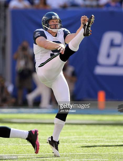 Jon Ryan of the Seattle Seahawks in action against the New York Giants on October 9 2011 at MetLife Stadium in East Rutherford New JerseyThe Seahawks...