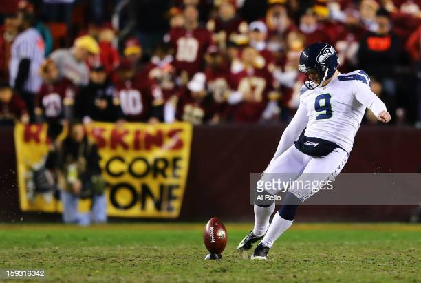 Jon Ryan of the Seattle Seahawks kicks the ball off against the Washington Redskins during the NFC Wild Card Playoff Game at FedExField on January 6...