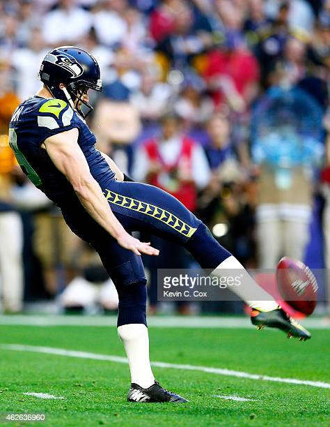 Jon Ryan of the Seattle Seahawks punts in the first quarter against the New England Patriots during Super Bowl XLIX at University of Phoenix Stadium...