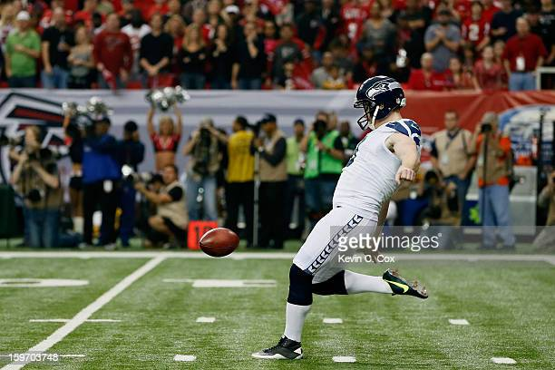 Jon Ryan of the Seattle Seahawks punts the ball against the Atlanta Falcons during the NFC Divisional Playoff Game at Georgia Dome on January 13 2013...