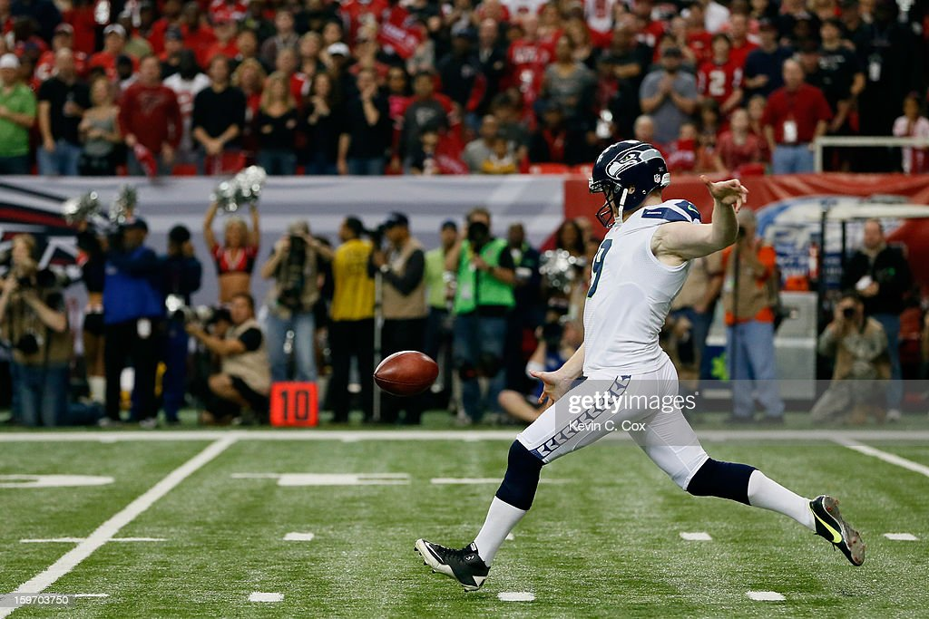 Jon Ryan #9 of the Seattle Seahawks punts the ball against the Atlanta Falcons during the NFC Divisional Playoff Game at Georgia Dome on January 13, 2013 in Atlanta, Georgia.
