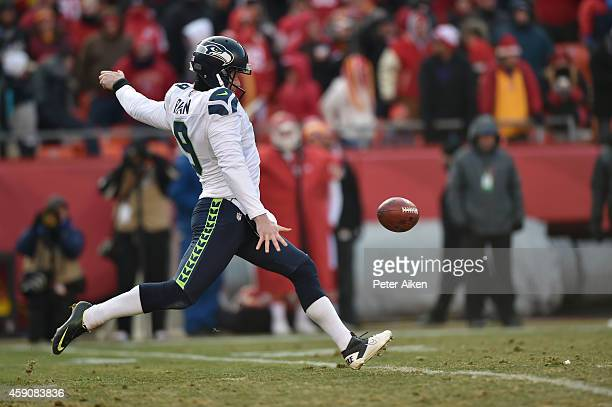 Jon Ryan of the Seattle Seahawks punts the ball against the Kansas City Chiefs during the game at Arrowhead Stadium on November 16 2014 in Kansas...