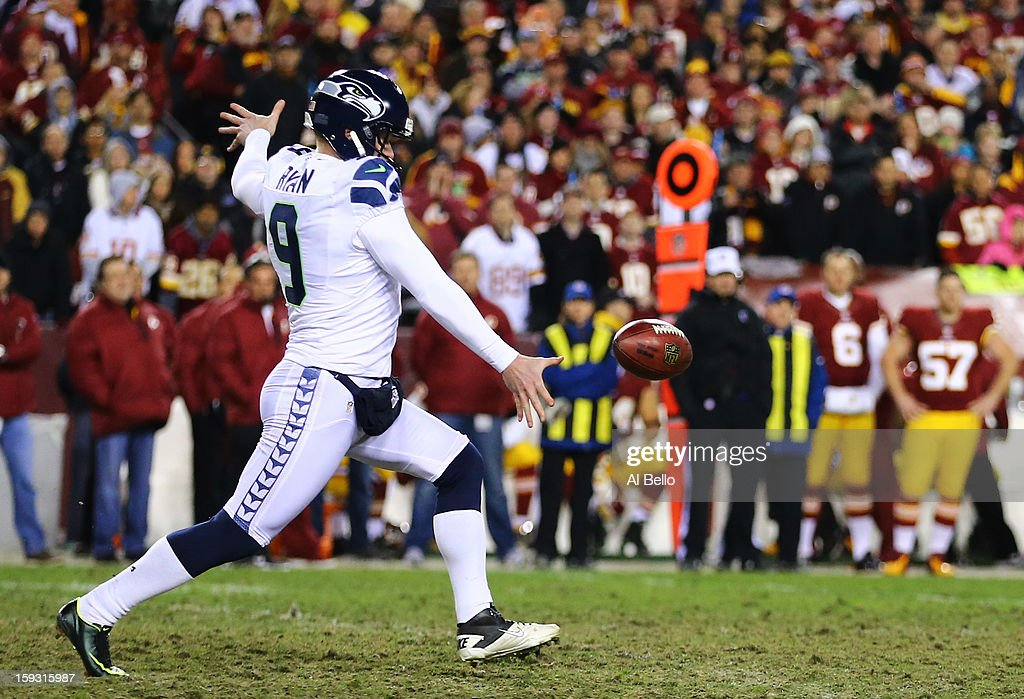 Jon Ryan #9 of the Seattle Seahawks punts the ball against the Washington Redskins during the NFC Wild Card Playoff Game at FedExField on January 6, 2013 in Landover, Maryland.