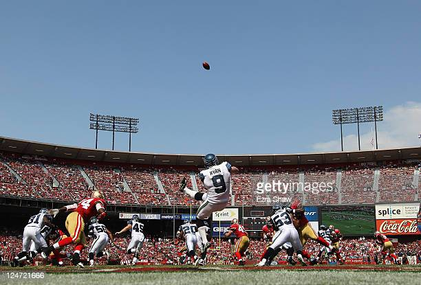 Jon Ryan of the Seattle Seahawks punts the ball from the endzone during their season opener against the San Francisco 49ers at Candlestick Park on...