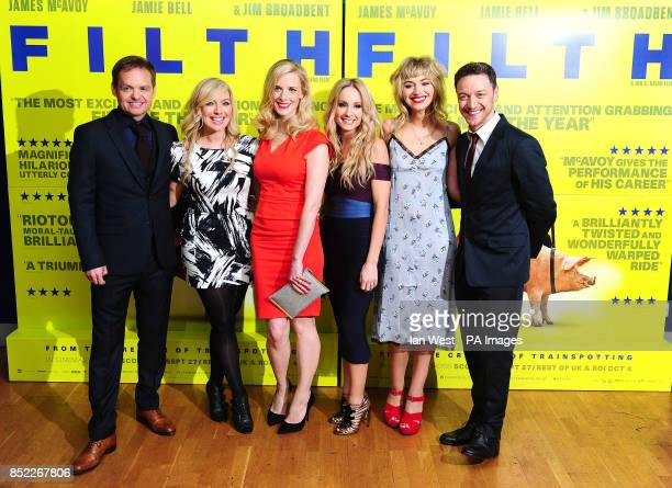 Jon S Baird Joy McAvoy Shauna Macdonald Joanne Froggatt Imogen Poots and James McAvoy arrive at the premiere of Filth at the Odeon West End in London
