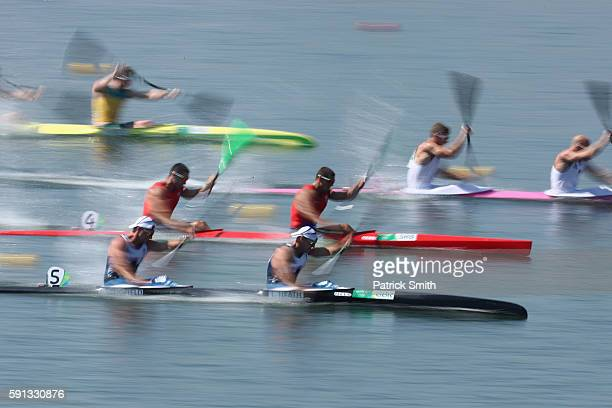 Jon Schofield and Liam Heath of Great Britain compete in the Canoe Sprint Men's Kayak Double 200m semifinal 1 during Day 12 of the Rio 2016 Olympic...