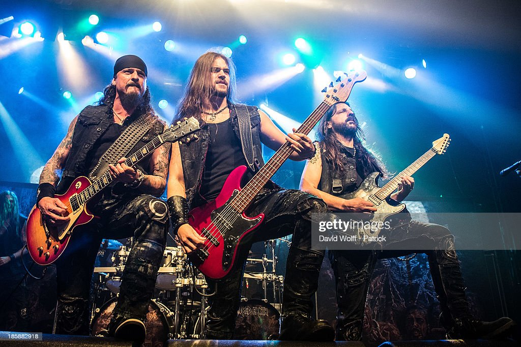 Jon Shaffer, Troy Steele and Luke Appleton from Iced Earth open for Volbeat at Le Bataclan on October 25, 2013 in Paris, France.