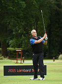 Jon Short of Shirley Park Golf Club tees off from the 1st hole during the The Lombard Trophy South Qualifier at Walton Heath Golf Club on July 8 2015...
