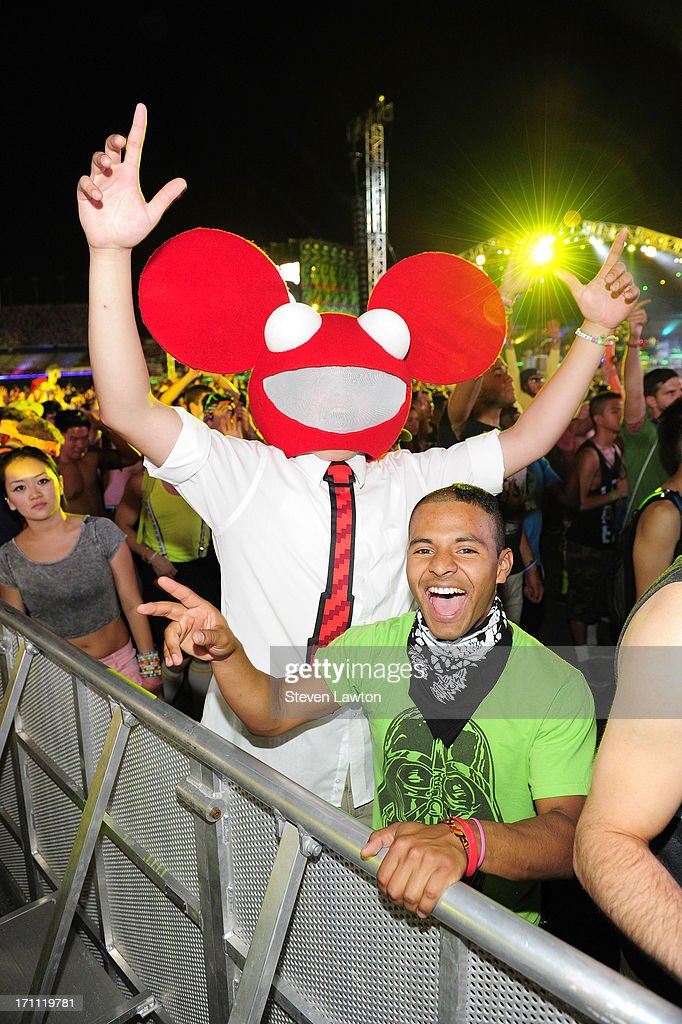 Jon Smith (L) and David Reid of Nevada pose at the 17th annual Electric Daisy Carnival at Las Vegas Motor Speedway on June 21, 2013 in Las Vegas, Nevada.