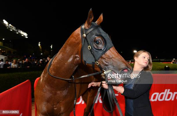 Jon Snow after winning Race 5 JRA Cup during Melbourne Racing at Moonee Valley Racecourse on September 29 2017 in Melbourne Australia