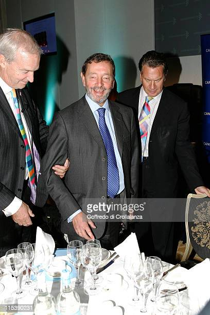 Jon Snow David Blunkett and Michael Portillo during Turn the Tables Charity Lunch October 17 2005 at The Savoy in London Great Britain