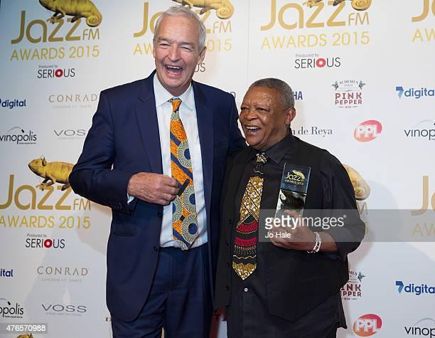 Jon Snow presents Hugh Masekela with Lifetime Achievement Award at the Jazz FM Awards at Vinopolis on June 10 2015 in London England
