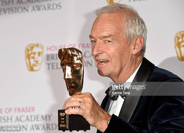 Jon Snow with the BATFA Fellowship Award in the winners room at the House of Fraser British Academy Television Awards at Theatre Royal on May 10 2015...