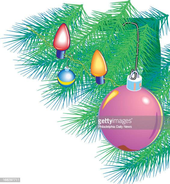 Jon Snyder color illustration of bulbs on a Christmas tree