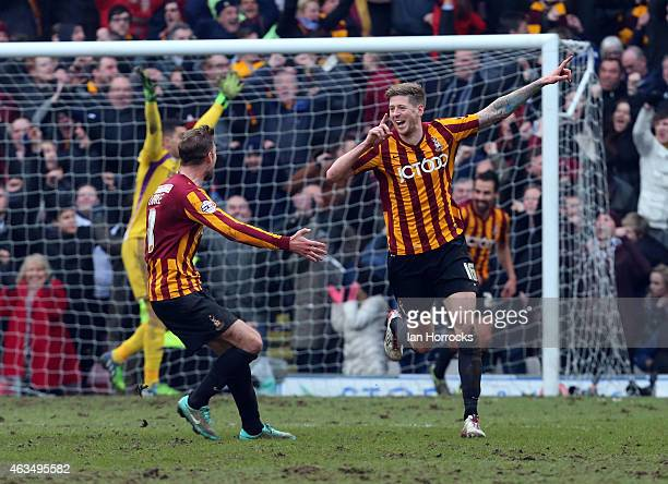 Jon Stead of Bradford City celebrates scoring the second goal during the FA Cup fifth round match between Bradford City and Sunderland AFC at Valley...