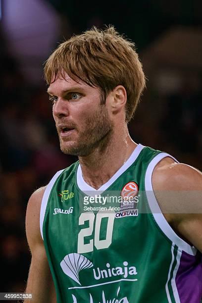 Jon Stefansson #20 of Unicaja Malaga during the 20142015 Turkish Airlines Euroleague Basketball Regular Season Date 8 game between Limoges CSP vs...