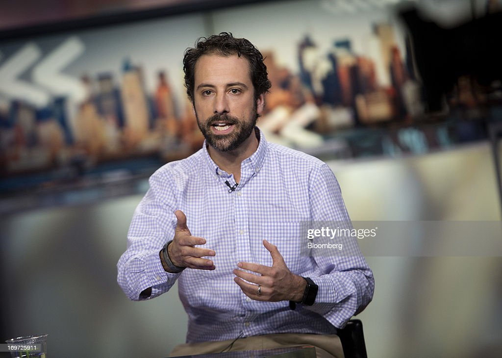 Jon Steinberg, president and chief operating officer, speaks during a Bloomberg Television interview in New York, U.S., on Friday, May 31, 2013. New York Times Co., looking to imitate the business models used by startups such as BuzzFeed Inc., is considering letting advertisers sponsor more stories on its website, two people with knowledge of the situation said. Photographer: Scott Eells/Bloomberg via Getty Images