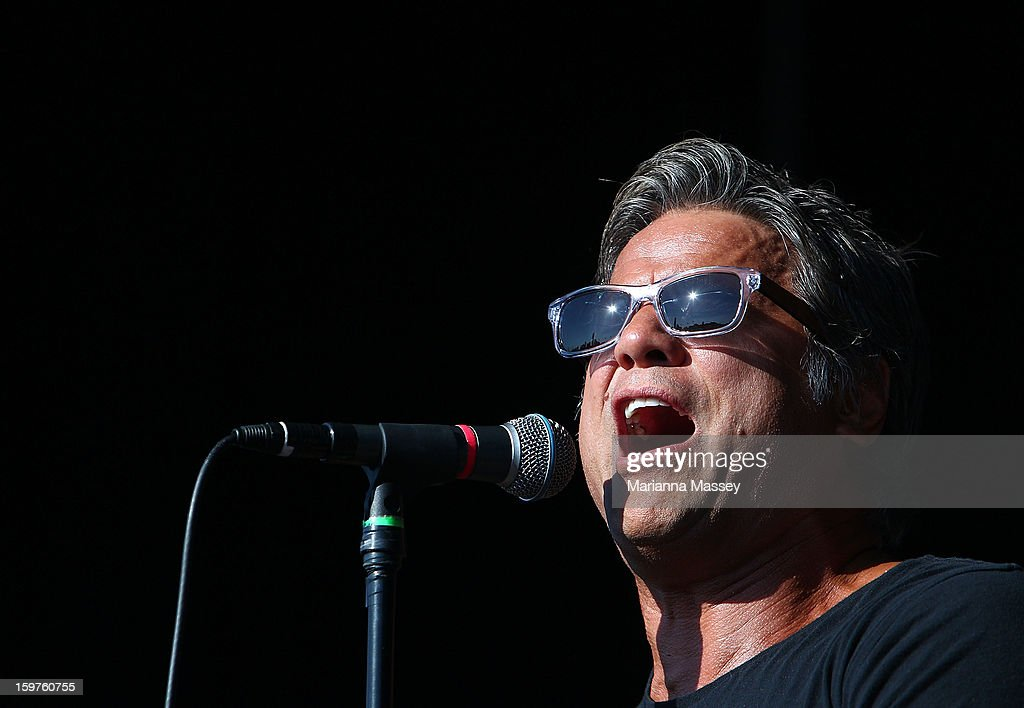 Jon Stevens live on stage during day seven of the 2013 Australian Open at Melbourne Park on January 20, 2013 in Melbourne, Australia.
