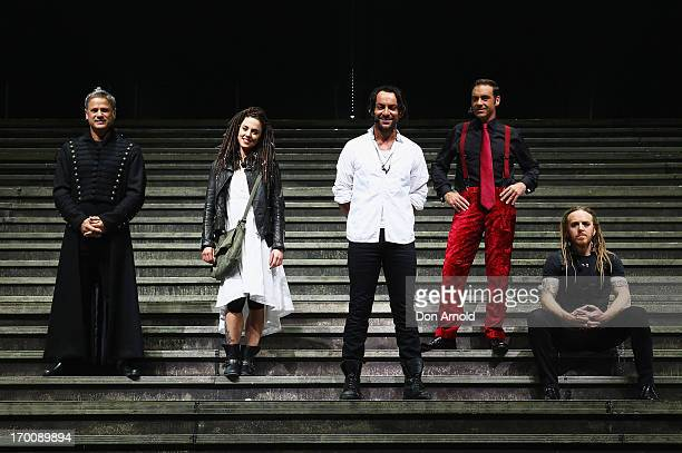 Jon Stevens Melanie C Ben Forster Andrew O'Keefe and Tim Minchin pose at the 'Jesus Christ Superstar' production photo call at the Sydney...