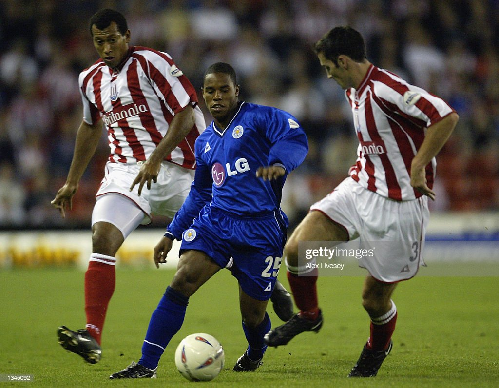 Jon Stevenson of Leicester takes on Clive Clarke of Stoke during the Nationwide First Division match between Stoke City and Leicester City at the Brittania Stadium in Stoke on 14 August, 2002.