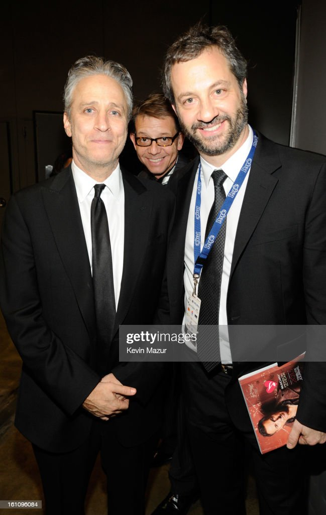 <a gi-track='captionPersonalityLinkClicked' href=/galleries/search?phrase=Jon+Stewart+-+Political+Satirist&family=editorial&specificpeople=202151 ng-click='$event.stopPropagation()'>Jon Stewart</a> and <a gi-track='captionPersonalityLinkClicked' href=/galleries/search?phrase=Judd+Apatow&family=editorial&specificpeople=854225 ng-click='$event.stopPropagation()'>Judd Apatow</a> attend MusiCares Person Of The Year Honoring Bruce Springsteen at Los Angeles Convention Center on February 8, 2013 in Los Angeles, California.