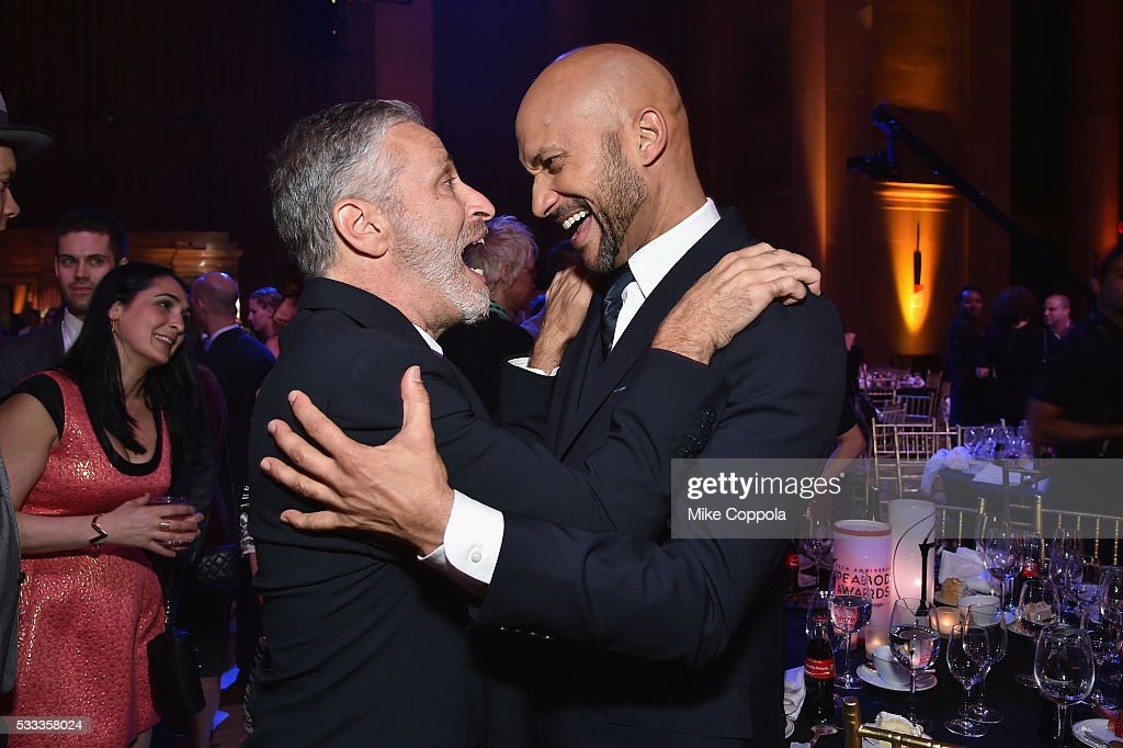 Jon Stewart and KeeganMichael Key attend The 75th Annual Peabody Awards Ceremony at Cipriani Wall Street on May 21 2016 in New York City