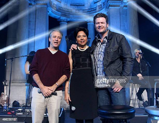 Jon Stewart Chairman and Chief Executive Officer of PepsiCo Indra Nooyi and musician Blake Shelton attend PepsiCo Foundation Announces Million Dollar...