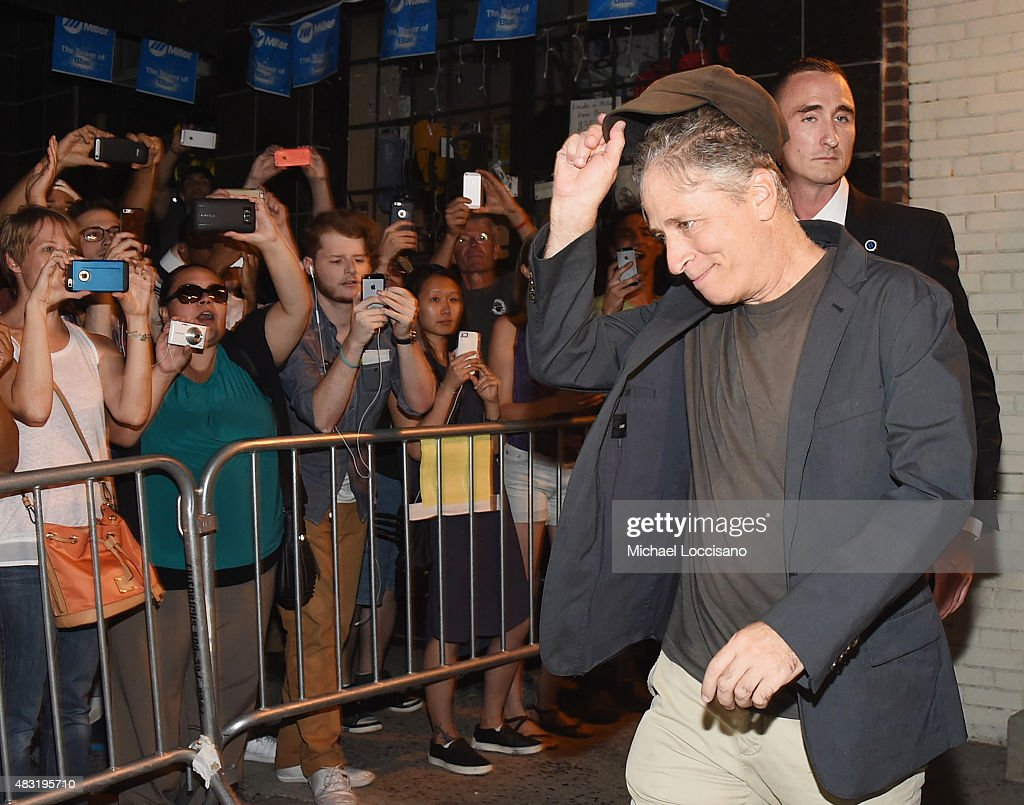 Jon Stewart exits the studio following the final taping of 'The Daily Show With Jon Stewart' on August 6, 2015 in New York City.
