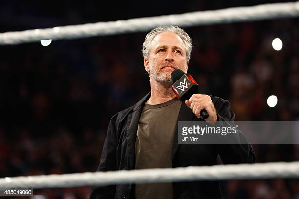 Jon Stewart hosts WWE SummerSlam 2015 at Barclays Center of Brooklyn on August 23 2015 in New York City