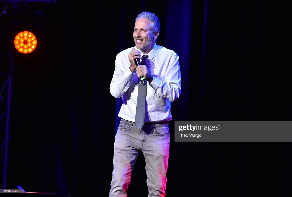 Jon Stewart performs on stage during 10th Annual Stand Up For Heroes at The Theater at Madison Square Garden on November 1, 2016 in New York City.