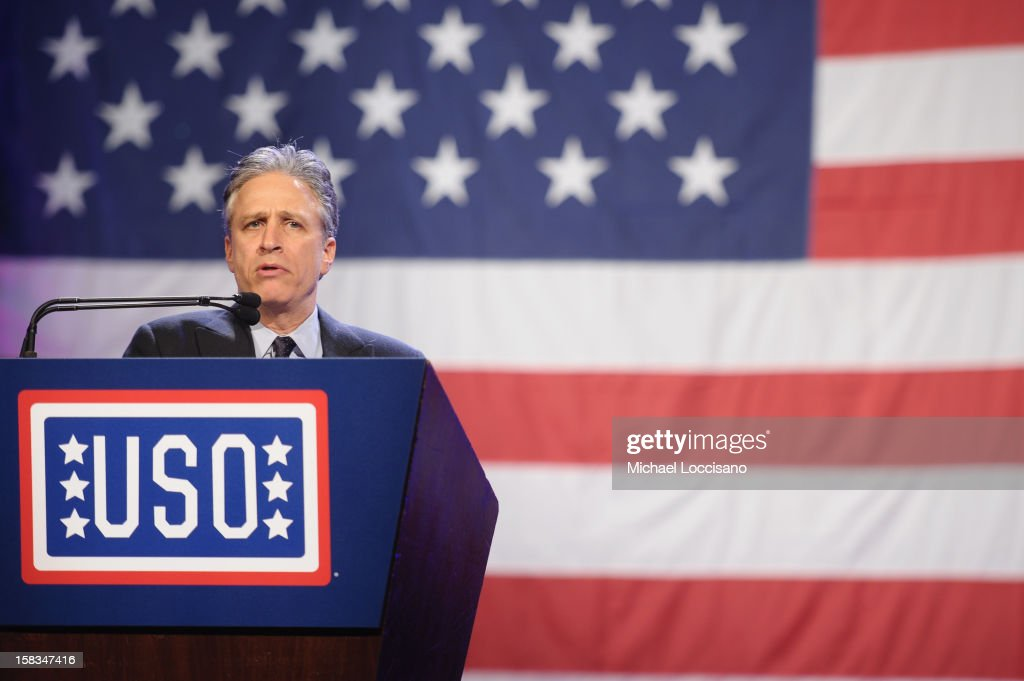 <a gi-track='captionPersonalityLinkClicked' href=/galleries/search?phrase=Jon+Stewart&family=editorial&specificpeople=202151 ng-click='$event.stopPropagation()'>Jon Stewart</a> speaks at the 51st USO Armed Forces Gala & Gold Medal Dinner on December 13, 2012 in New York City.