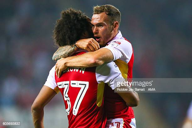 Jon Taylor of Rotherham United celebrates after scoring a goal to make it 10 during the Sky Bet Championship fixture between Rotherham Untied v...