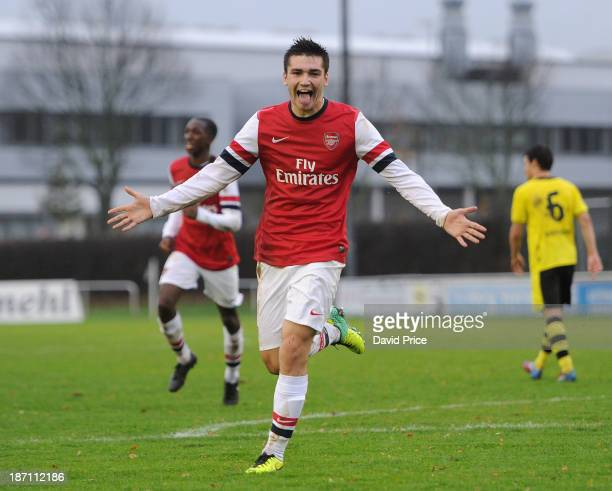 Jon Toral celebrates scoring Arsenal's 2nd goal during the match between Borussia Dortmund U19 and Arsenal U19 in the UEFA Youth League at...