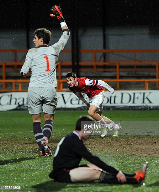 Jon Toral celebrates scoring Arsenal's 3rd goal as Goalkeeper Kepa Arrizabalaga of Bilbao calls for offside during the NextGen Series match between...