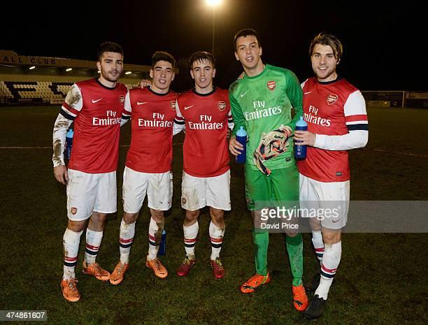 Jon Toral Hector Bellerin Julio Pleguezuelo Dejan Iliev and Leander Siemann of Arsenal after the match between Arsenal U19 and Shakhtar Donetsk U19...