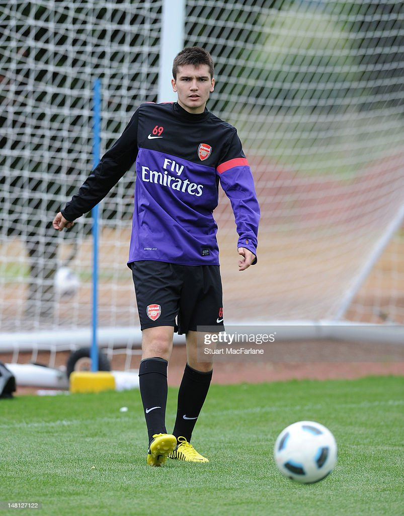 Jon Toral of Arsenal during a training session at London Colney on July 10, 2012 in St Albans, England.