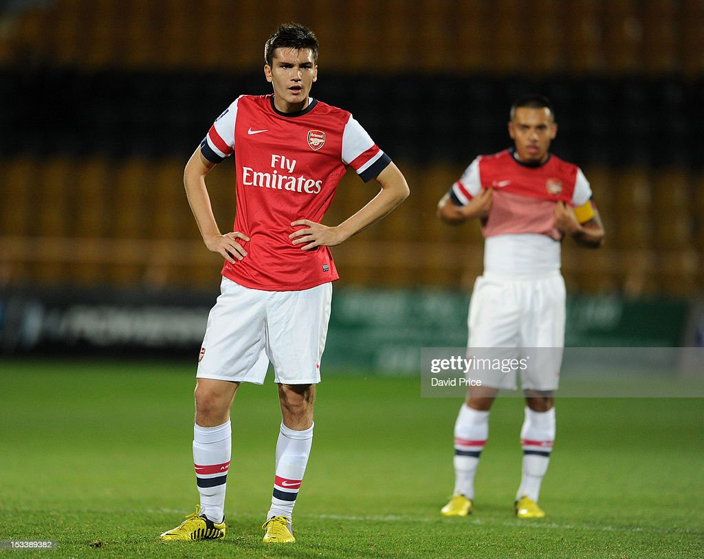 Jon Toral of Arsenal during the NextGen Series match between Arsenal U19 and Olympiacos U19 at Underhill Stadium on October 4, 2012 in Barnet, United Kingdom.