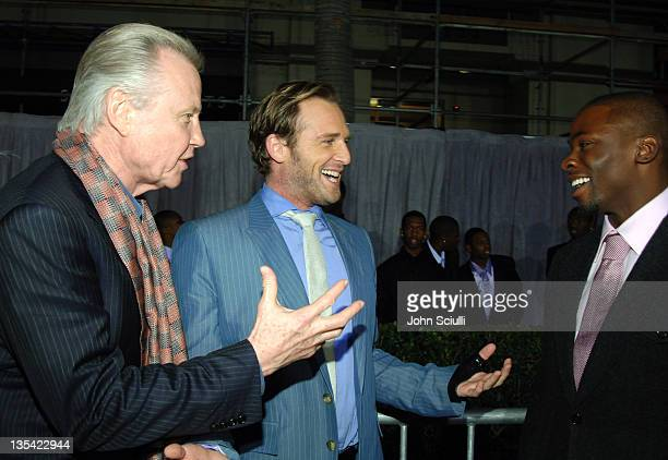 Jon Voight Josh Lucas and Derek Luke during 'Glory Road' World Premiere Red Carpet at The Pantages Theater in Los Angeles California United States