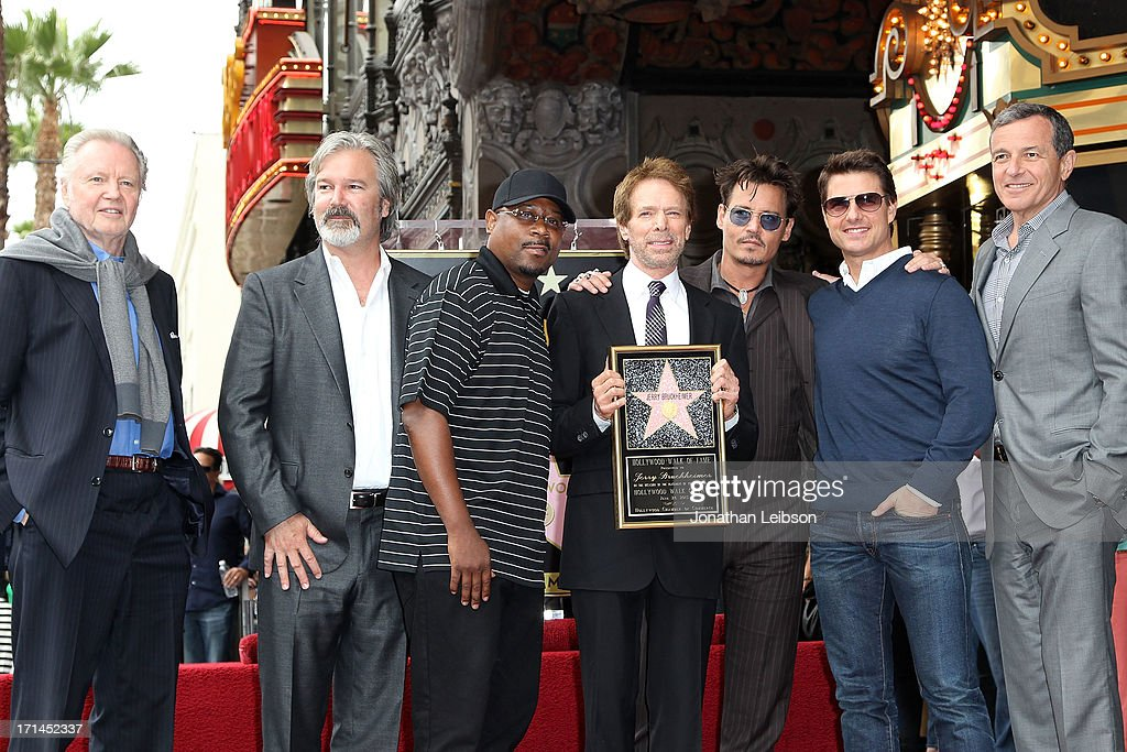 Jon Voight, Martin Lawerence, producer Jerry Bruckheimer, actors Johnny Depp, Tom Cruise and The Walt Disney Company Chairman and CEO Bob Iger attend Producer Jerry Bruckheimer Hollywood Walk of Fame Star Ceremony on the Hollywood Walk of Fame on June 24, 2013 in Hollywood, California.