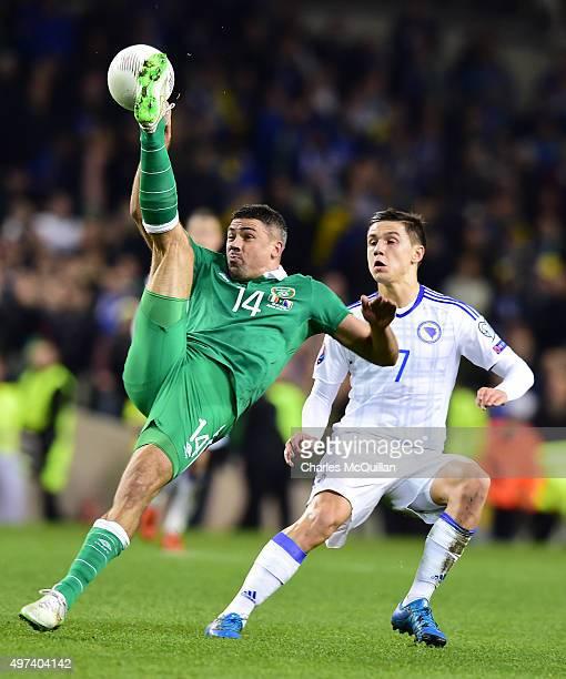 Jon Walters of Republic of Ireland and Muhamed Besic BosniaHerzegovina during the Euro 2016 playoff second leg between Republic of Ireland and Bosnia...