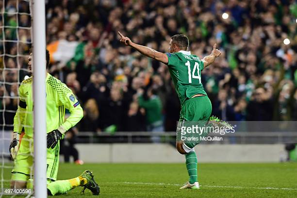 Jon Walters of Republic of Ireland celebrates after he scoring from the penalty spot during the Euro 2016 playoff second leg match between the...