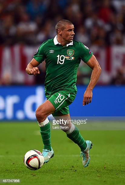 Jon Walters of Republic of Ireland runs with the ball during the EURO 2016 Group D qualifying match between Germany and Republic of Ireland on...