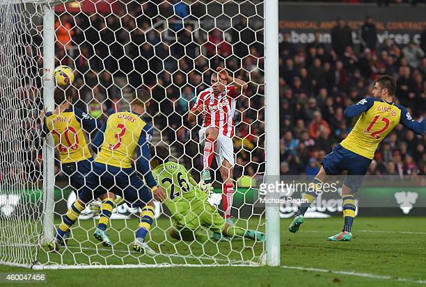 Jon Walters of Stoke scores to make it 30 during the Barclays Premier League match between Stoke City and Arsenal at Britannia Stadium on December 6...